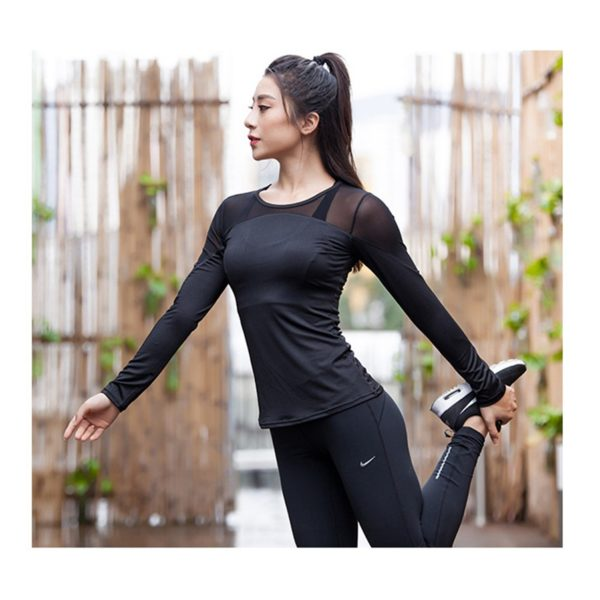 Sophisticated Yoga Top with Mesh Panel01
